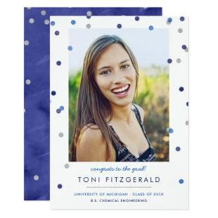 Blue & Silver Confetti Photo Graduation Invitation