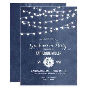 Blue String Lights Graduation Party Invitation