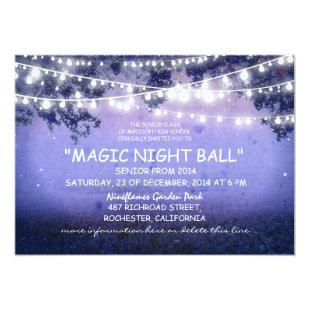 blue string of lights rustic Prom night Invitation