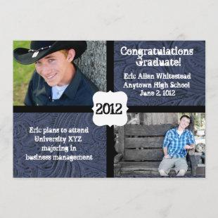 Blue Tooled Leather Photo Graduation Announcement