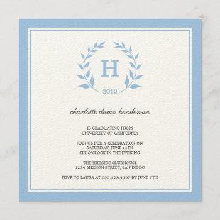 Blue wreath monogram graduation class invitation