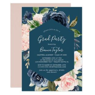 Blush and Navy Flowers   Blue Graduation Party Invitation