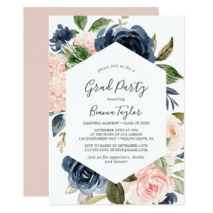 Blush and Navy Flowers | White Graduation Party Invitation