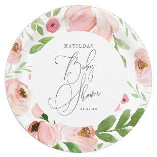 Blush floral watercolor Baby shower Paper Plate