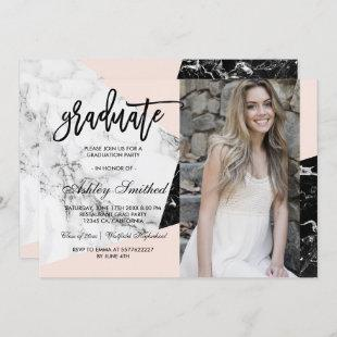 Blush marble color block graduate typography