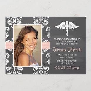Blush Pink Chalkboard Nursing School Graduation Invitation