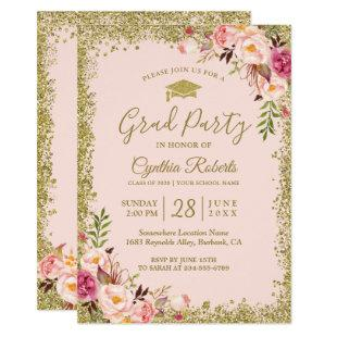 Blush Pink Gold Glitters Floral Graduation Party Invitation