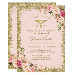 Blush Pink Gold Glitters Nursing School Graduation Invitation