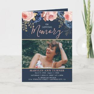 Blush Pink & Navy Florals Elegant Funeral Program