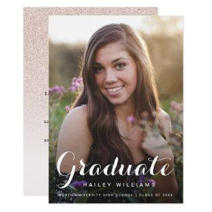 Blush Pink Photo Trendy Pink Chic Graduation Party Invitation