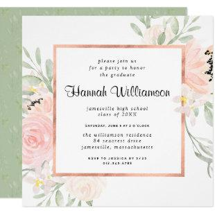 Blush Pink Rose Floral Graduation Party Invitation