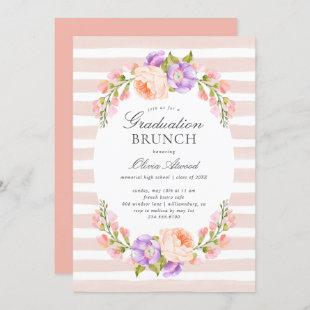 Blush Stripe and Bloom Graduation Brunch Invitation