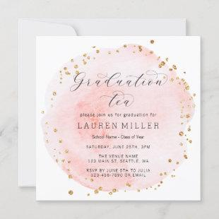 Blush Watercolor Circle Gold Dots Graduation Party Invitation
