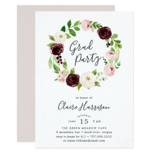 Blush Wreath Graduation Party Invitation