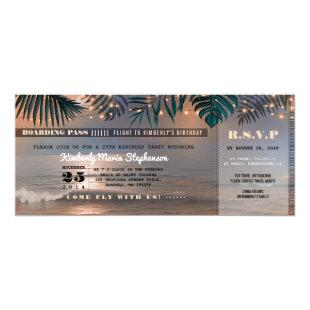 Boarding Pass Birthday Ticket | Beach Sunset Invitation