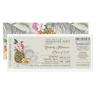 Boarding Pass | Pineapple | Beach Graduation Party Invitation