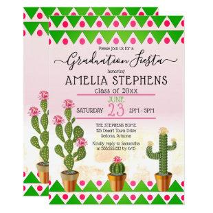 Boho Chic Cactus Fiesta Graduation Party Invitation