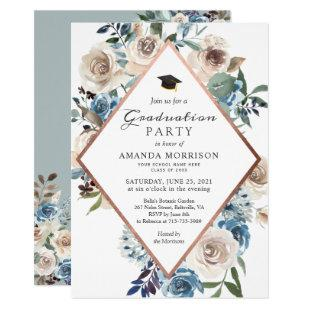 Boho Dusty Blue Floral Rose Gold Graduation Party Invitation