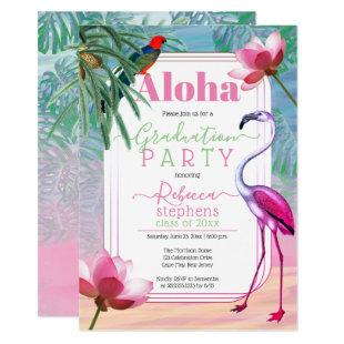 Boho Tropical Beach Watercolor Graduation Party Invitation