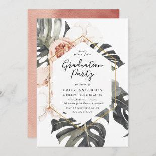 Boho Tropical Floral Graduation Party Invitation