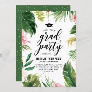 Boho Watercolor Tropical Floral Frame Graduation Invitation