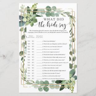 Boho What did the bride say game succulent