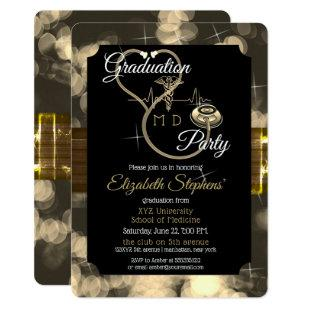 Bokeh Doctor Stethoscope EKG Graduation Party Invitation