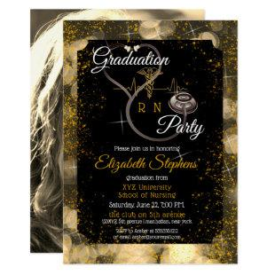 Bokeh Nurse Stethoscope EKG Graduation Party Invitation