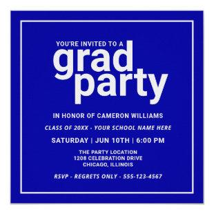 Bold Blue and Silver Gray Modern Basic Grad Party Invitation