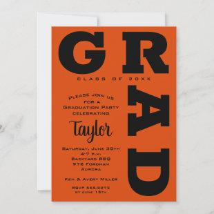 Bold GRAD | Black and Orange Graduation Invitation