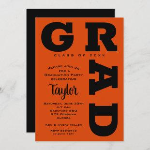 Bold GRAD Black and Orange Graduation Invitations