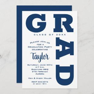 Bold GRAD Navy Blue White Graduation Invitations