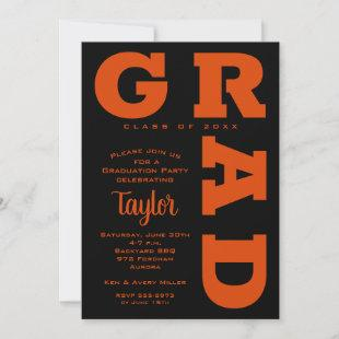 Bold GRAD | Orange on Black Graduation Invitations