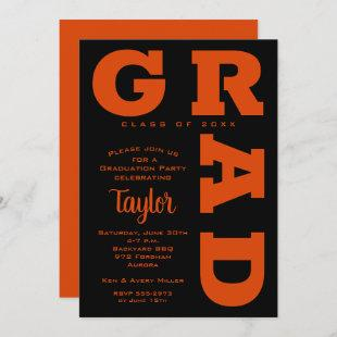 Bold GRAD Orange on Black Graduation Invitations