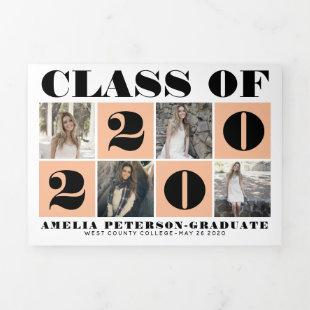 Bold typography Class of 2020 photo collage peach Tri-Fold Announcement