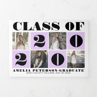 Bold typography Class of 2020 photo collage purple Tri-Fold Announcement