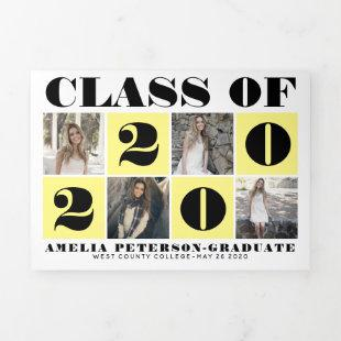 Bold typography Class of 2020 photo collage yellow Tri-Fold Announcement