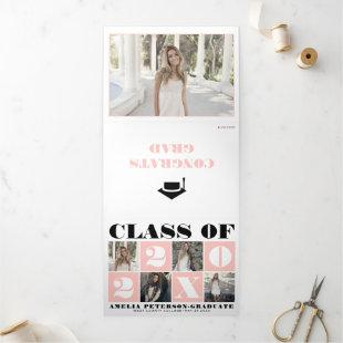 Bold typography Class of 2021 photo collage blush  Tri-Fold Announcement