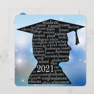 boy graduate silhouette with cap for 2021 invitation