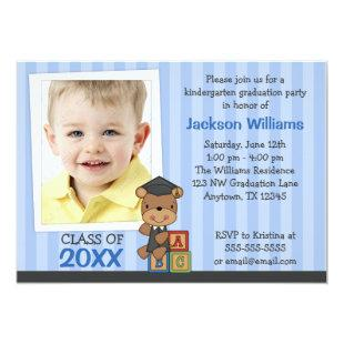 Boy Photo Graduation Bear Blue Stripes Invitation