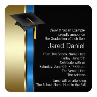 Boys Blue and Gold Photo Graduation Announcements