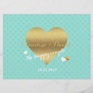 Bride & Co Blue & Gold Polka Dot Wedding Ceremony Program
