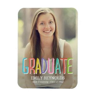 Bright and Colorful Graduation Announcement Magnet