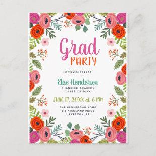 Bright Floral Photo Graduation Party Invite