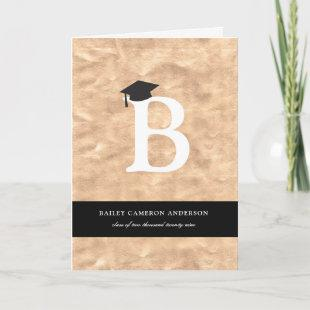 Bronze Foil Monogram Alphabet Modern Photo Grad Invitation