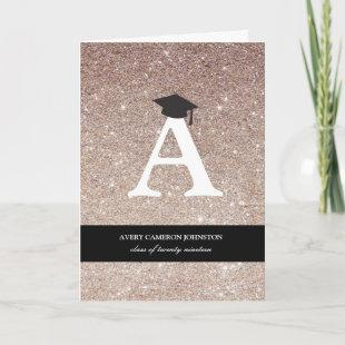 Bronze Glitter Monogram Alphabet Modern Photo Grad Announcement