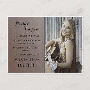 Brown Ombre' Save the Date Photo  Graduation Announcement Postcard