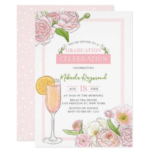 Brunch and Bubbly | Pink Floral Graduation Party Invitation