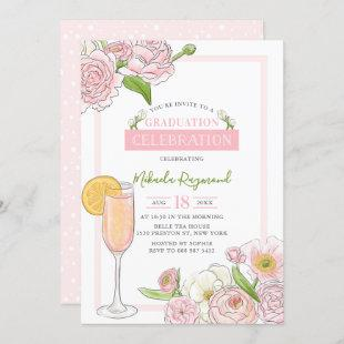 Brunch and Bubbly | Pink Floral Graduation Party