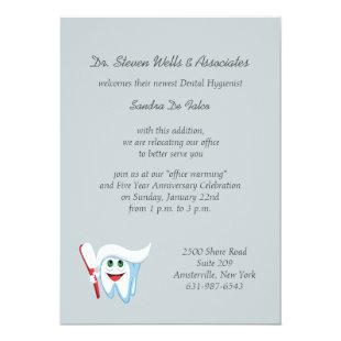 Brush and Tooth Dental Announcement/Invitation Invitation